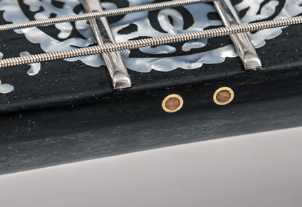 BRASS SIDE DOTS WITH WOODEN INSERTS