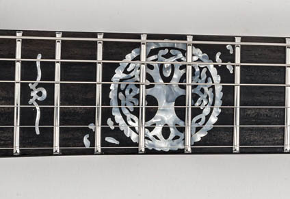CUSTOM MITHANS INLAYS ON EBONY FINGERBOARD
